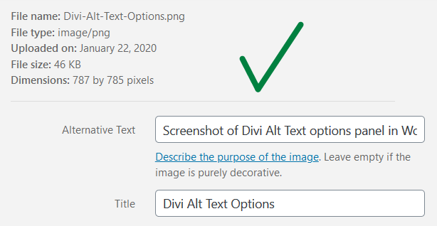 Screenshot of WordPress media library image attributes with a green check